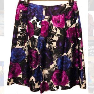 Michael KORS 100% Silk Purple Floral Skirt Pockets